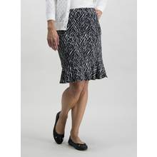 Monochrome Printed Ruffle Hem Skirt