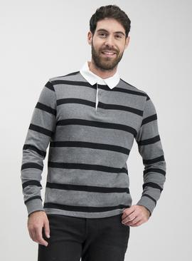 Grey & Black Block Stripe Long Sleeve Rugby Shirt
