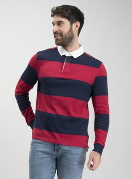 Red & Navy Block Stripe Long Sleeve Rugby Shirt