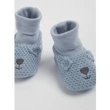 Blue Knitted Bear Sock Booties