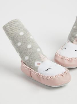 Multicoloured Unicorn Moccasin Slipper Socks