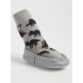 Dinosaur Grey Moccasin Slipper Socks