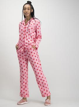 Pink Star Print Traditional Fleece Pyjamas