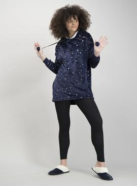 Navy Star Longline Hooded Fleece Pyjama Jumper