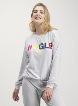 Christmas Grey 'Jingle Belle' Soft Knit Long Sleeve Pyjama T