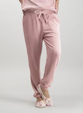 Pink Rib Velour Pyjama Bottoms