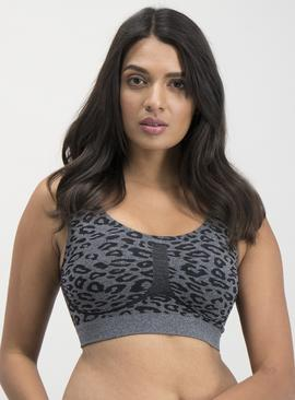 Grey Animal Print Seamfree Crop Top