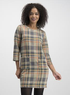 Beige & Grey Brushed Check Shift Dress