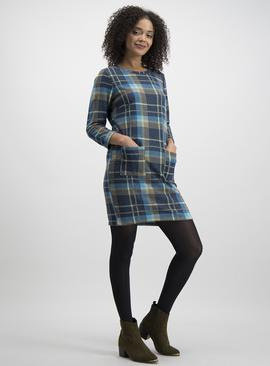Online Exclusive Blue Brushed Check Shift Dress