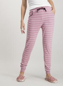 Pink Stripe Cuffed Pyjama Bottoms