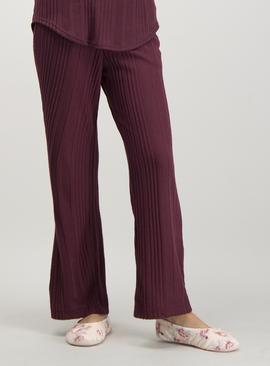 Burgundy Ribbed Pyjama Bottoms
