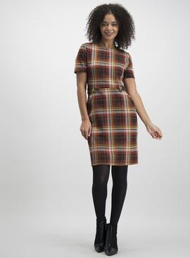 Multicoloured Check Ponte Shift Dress