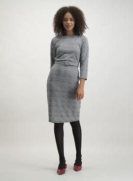 Online Exclusive Monochrome Check Belted Shift Dress