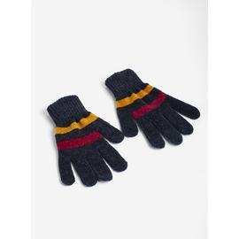 Navy Stripe Chenille Gloves - One Size