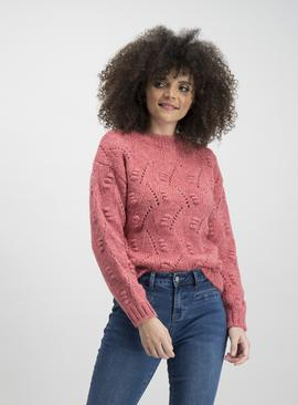 Coral Bobble Pointelle Knit Jumper