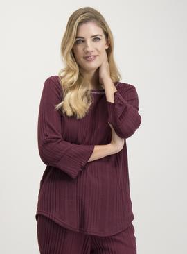 Burgundy Ribbed Pyjama Top