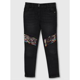 Black Sequin Detail Skinny Jeans