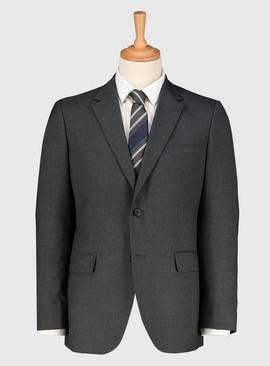 Grey Dogtooth Tailored Fit Suit Jacket