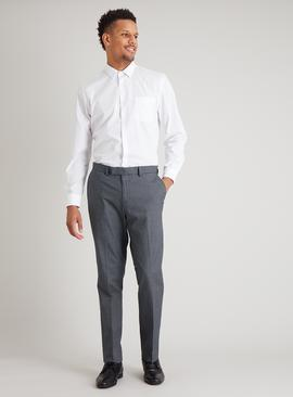 Monochrome Check Cotton Slim Fit Trousers With Stretch