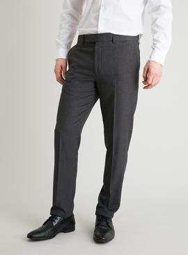 Grey Dogtooth Slim Fit Suit Trousers