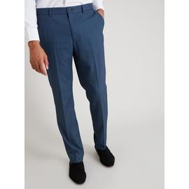 Blue Textured Slim Fit Trouser With Stretch