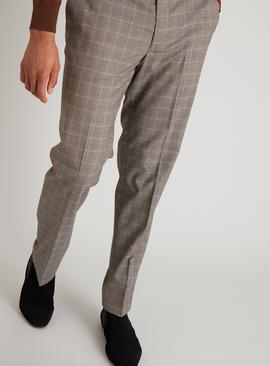 Brown Check Tailored Fit Trousers With Stretch