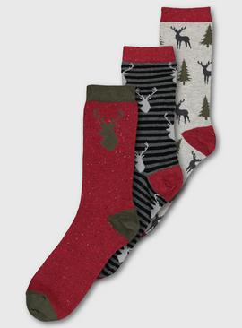 Toasties Grey & Red Stag Sock 3 Pack - 6-11