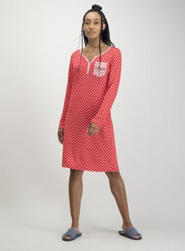 Red Heart Print Nightdress