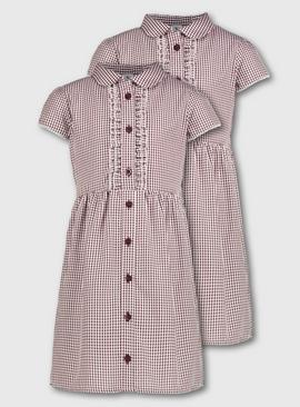Yellow Gingham Frilled Classic School Dress 2 Pack