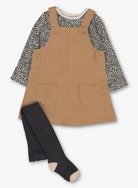 Beige Pinafore, Animal Print Bodysuit & Tights