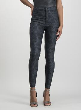 Black High Waisted Snake Print Jeggings