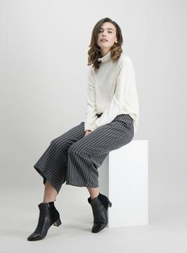 Charcoal & White Pinstripe Culotte