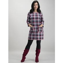PETITE Burgundy Brushed Check Shift Dress