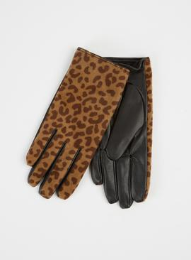 Isotoner Leopard Print Soft Lined Fabric Gloves