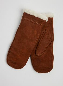 Isotoner Tan Suede Mittens