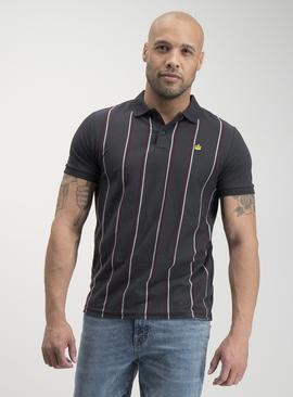 Dark Grey Vertical Stripe Polo Shirt