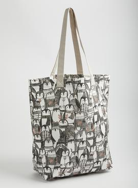 Grey Penguin Print Canvas Shopping Bag - One Size