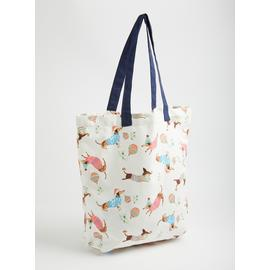 Cream Dog Print Canvas Shopping Bag - One Size