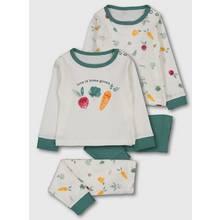 Multicoloured Vegetable Print Pyjamas 2 Pack
