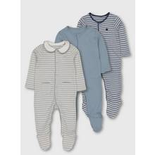 Blue Striped Sleepsuits 3 Pack