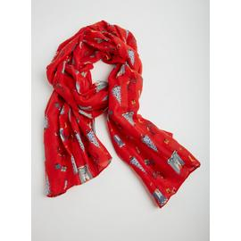 Christmas Red Reindeer, Tree & Fireplace Festive Scarf - One