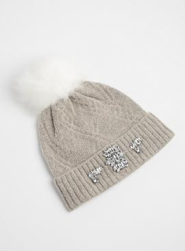 Grey Knitted Jewel Turn Up Beanie Hat - One Size