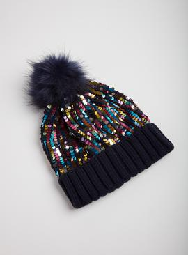 Mini Me Navy Sequin Beanie Hat - One Size