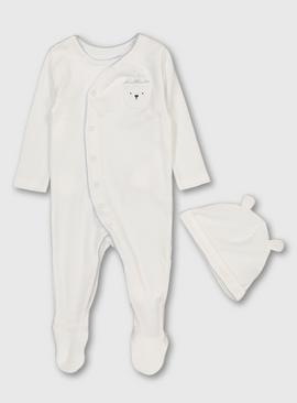 Winter White Textured Sleepsuit & Hat Set