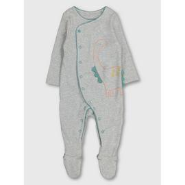 Grey Dinosaur Embroidered Sleepsuit