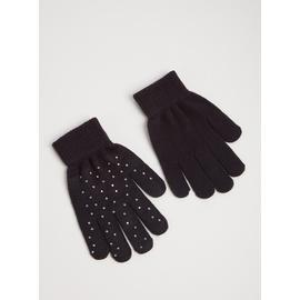 Navy Diamanté Gloves - One Size