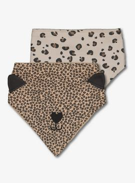 Brown Leopard Print Hanky Bib 2 Pack - One Size