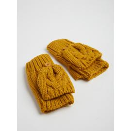 Mustard Cable Knit Mittens - One Size
