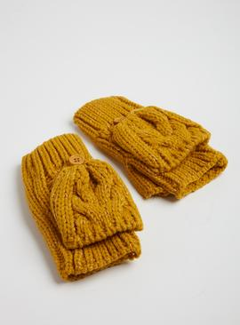 Green Chartuesse Cable Knit Mittens - One Size