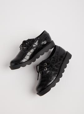 Black Mock Croc Bubble Sole School Shoes